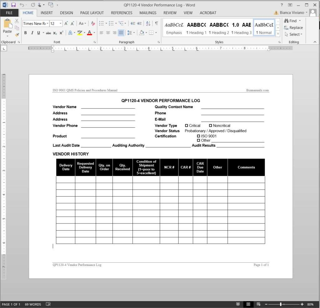 Vendor performance log iso template for Free quality control manual template