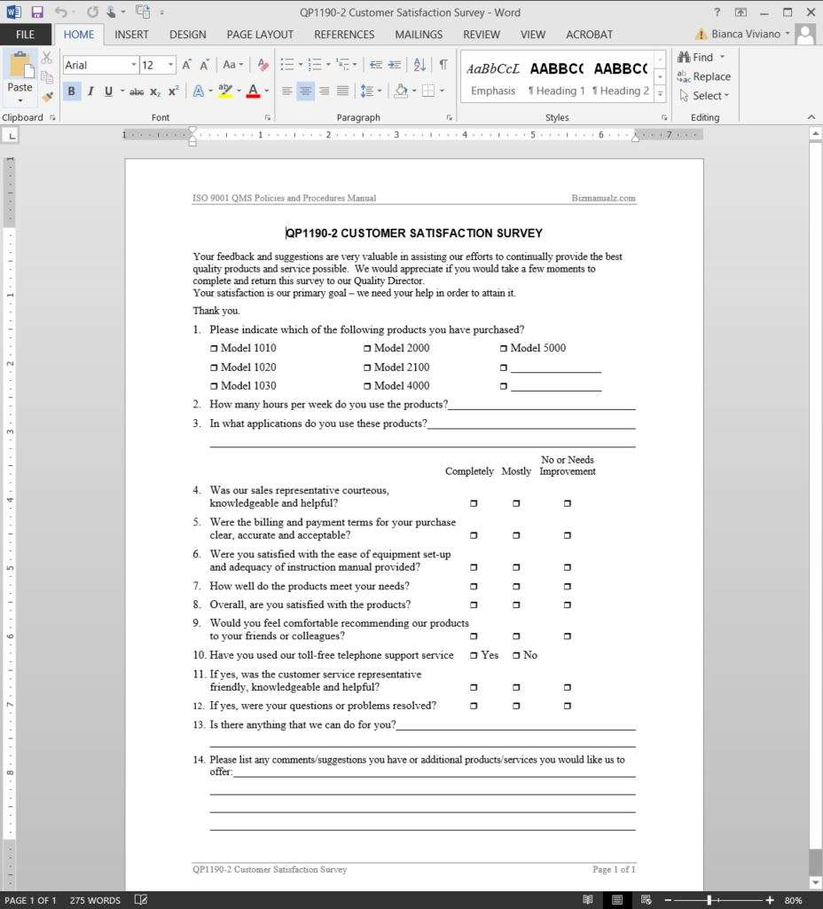 Customer Satisfaction Survey ISO Template – Sample Customer Satisfaction Survey