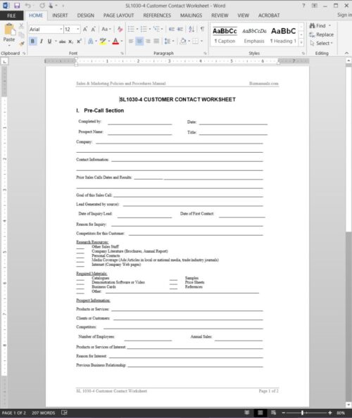 Customer Contact Worksheet SL1030-4