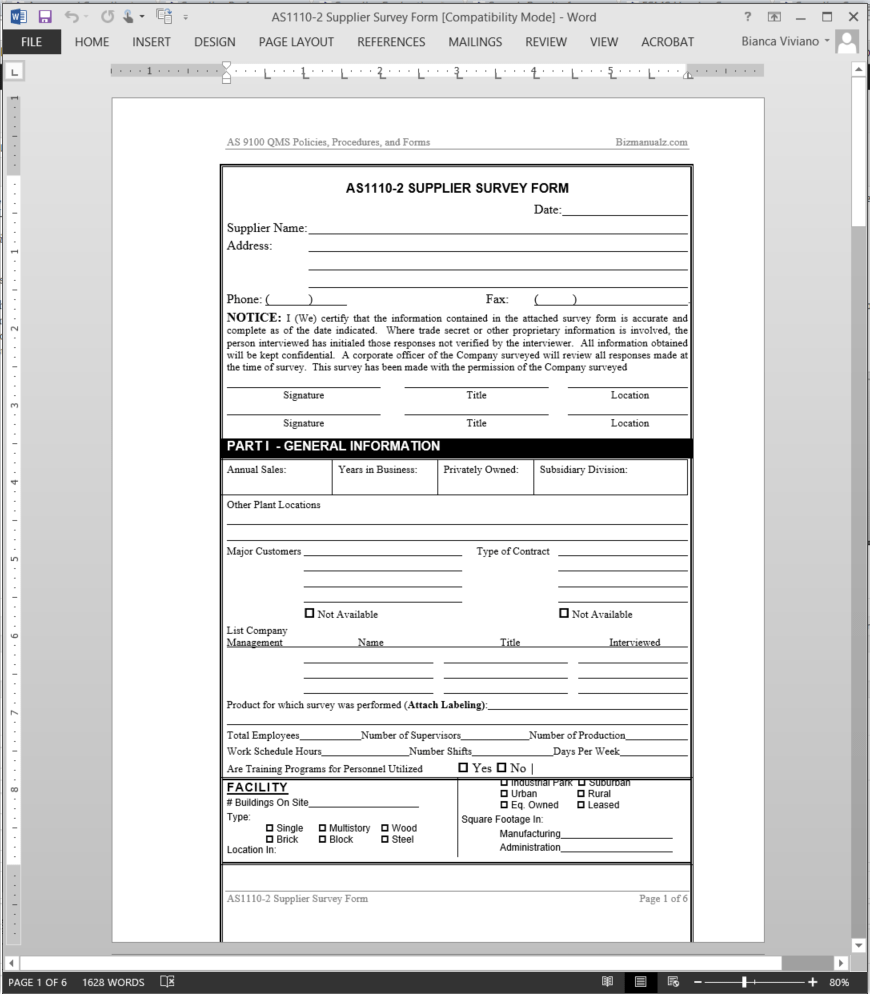 Supplier Survey Form AS9100 Template Details