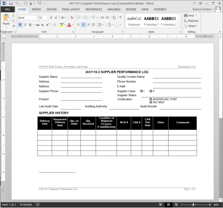 Supplier performance log as9100 template as1110 3 for Supplier quality manual template