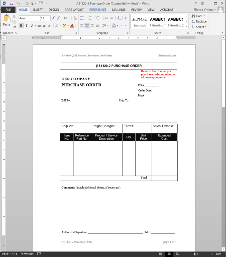 purchasing manual template - purchase order as9100 template as1120 2