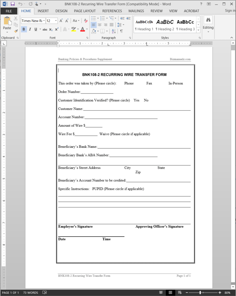 Recurring Wire Transfer Form Template – Account Form Template