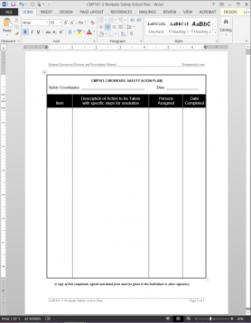 CMP101-3 Worksite Safety Action Plan Template