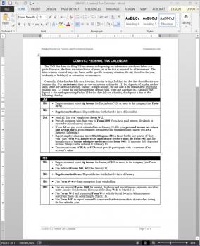 COM101-2 Federal Tax Calendar Template