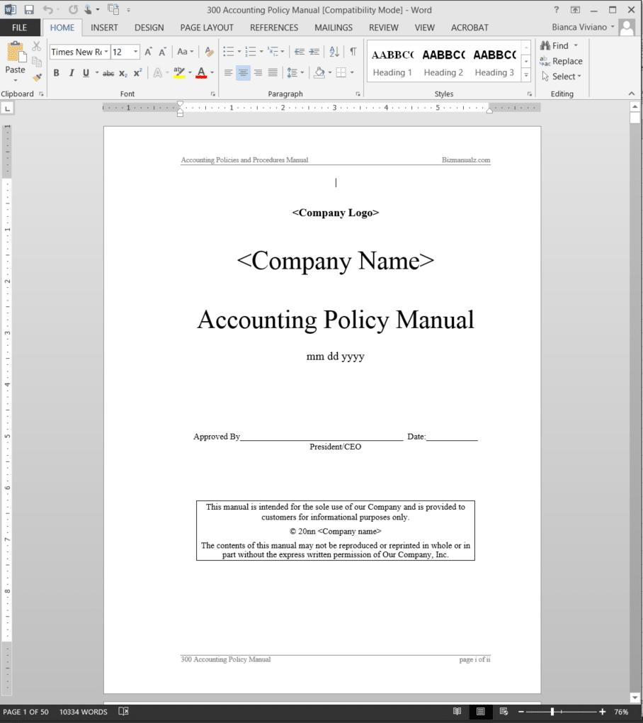 accounting policy manual abr31mpm rh bizmanualz com Simple Accounting Procedures Manual bookkeeping procedures manual template