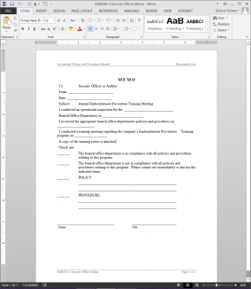 Security Officer Memo Example EMB500-3