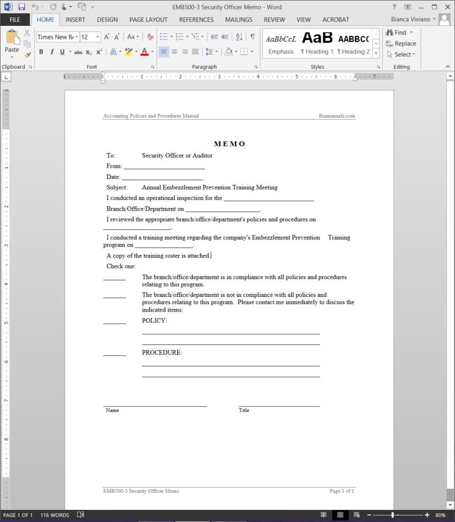 security officer memo template emb