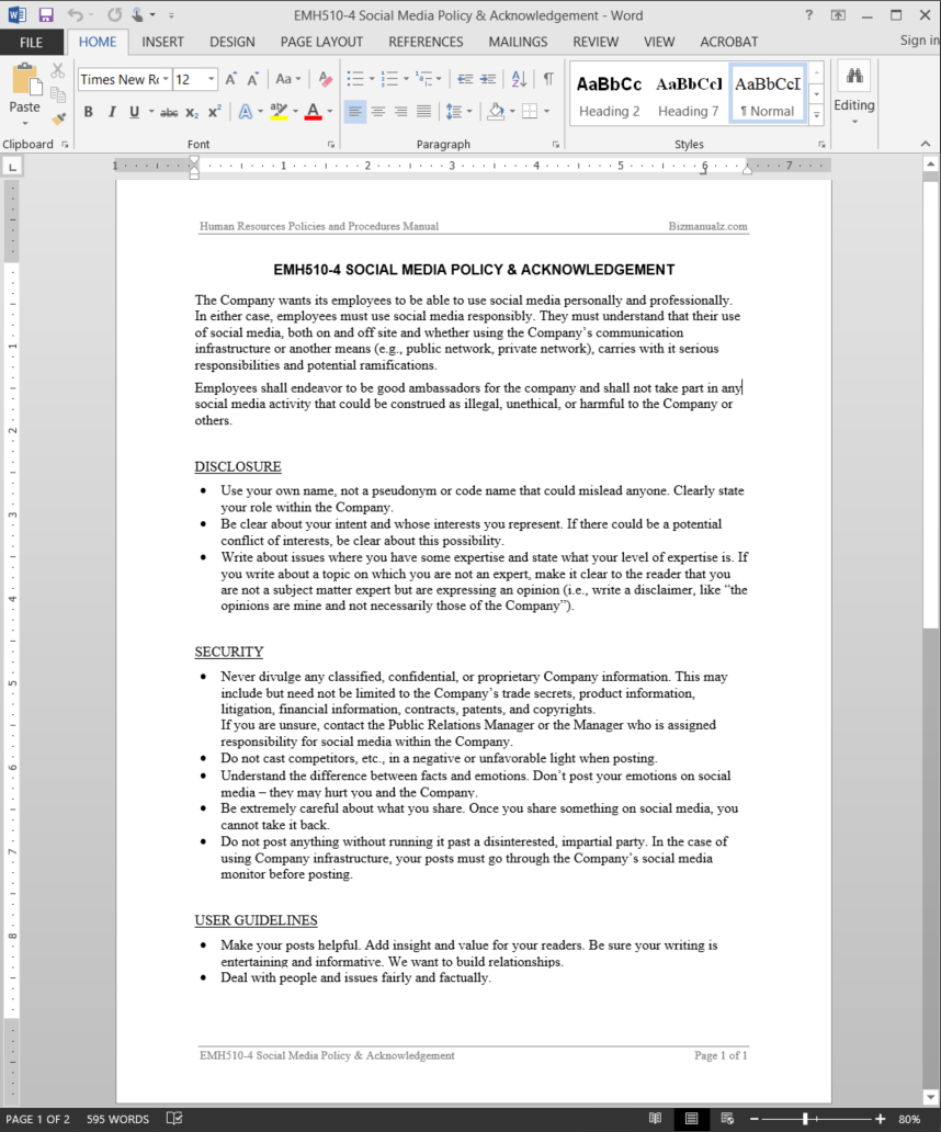 Employee Social Media Policy & Acknowledgement Template | EMH510-4