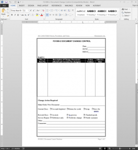 FSMS Document Change Control Template