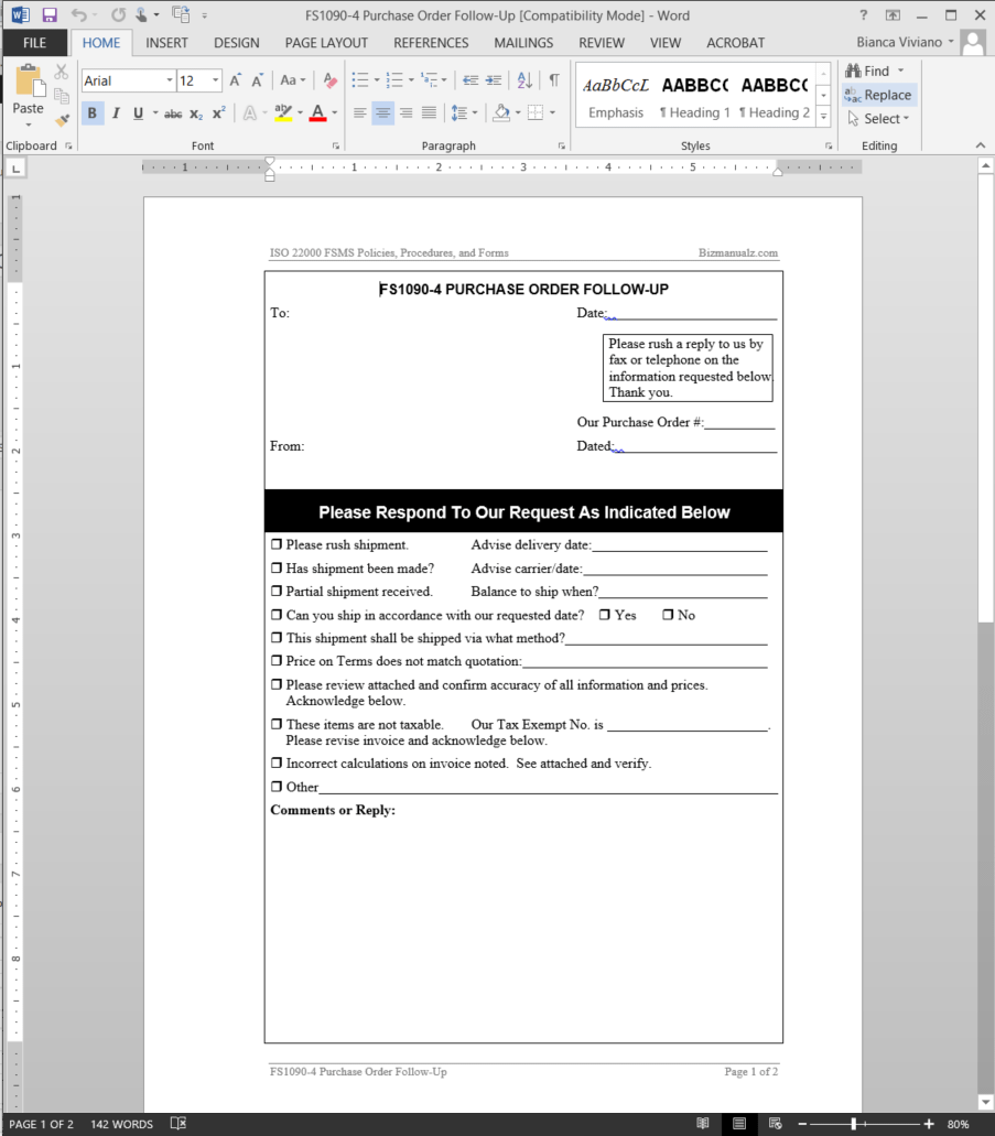Fsms Purchase Order Follow Up Template Fds1090 4