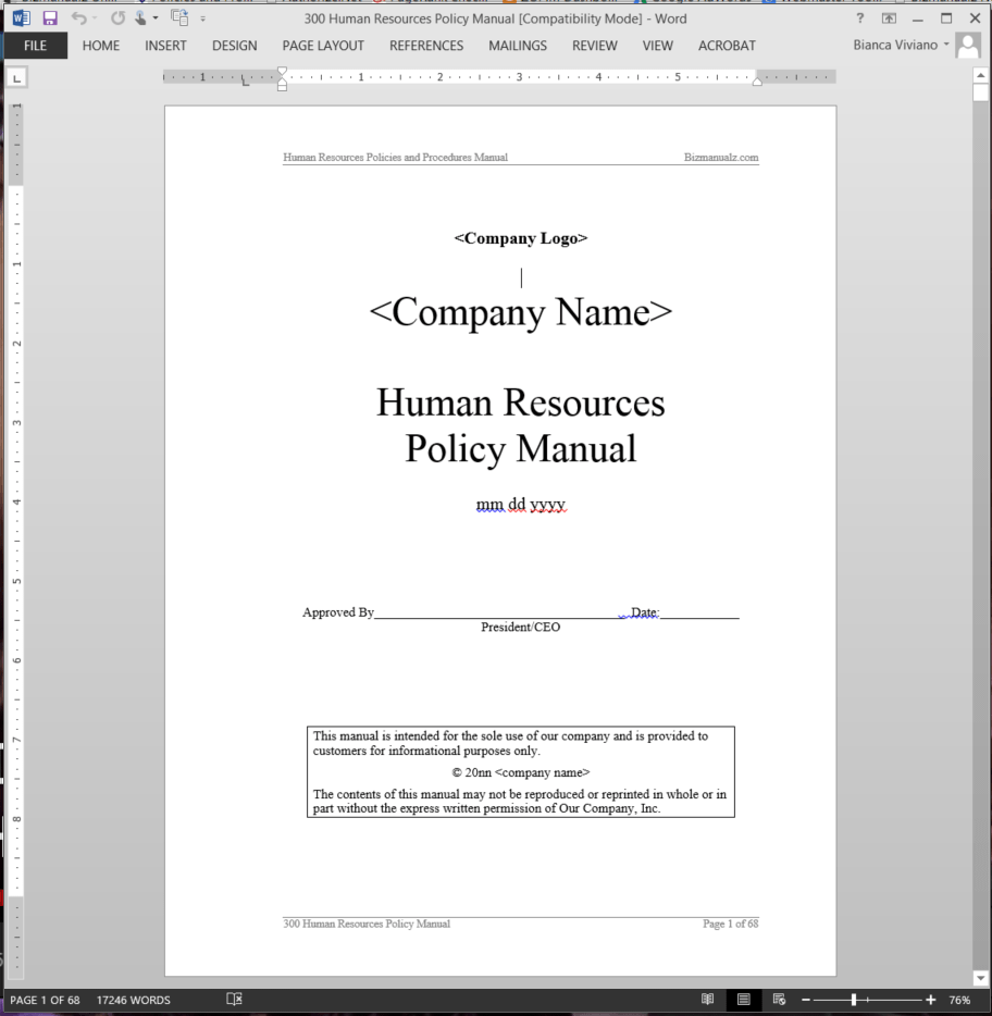 Human resources policy manual abr41mpm for Human resource manual template