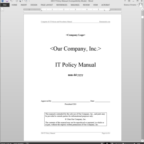 security company policies and procedures manual