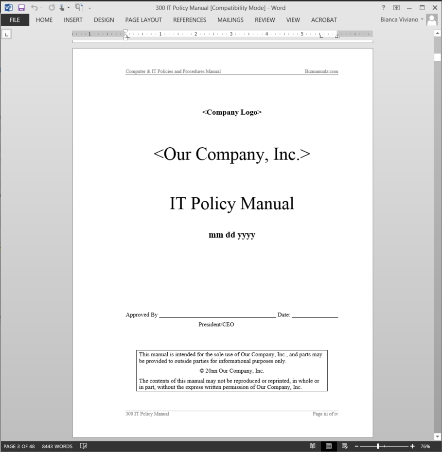 It policy manual abr34mpm for It policy and procedures template