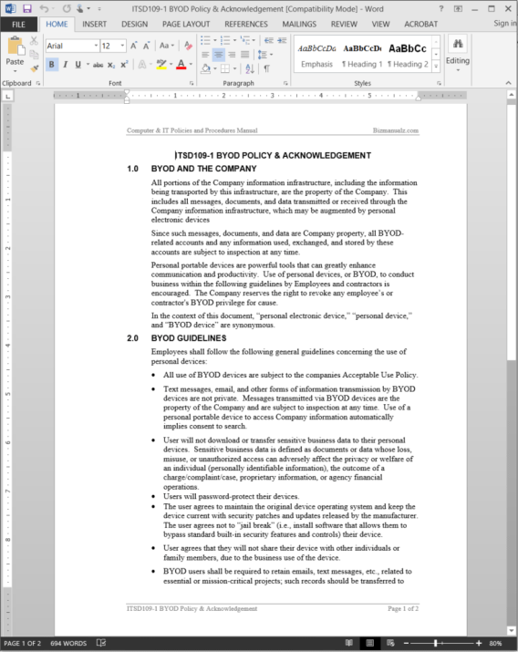 Byod policy acknowledgement template itsd109 1 for Information technology policies and procedures templates
