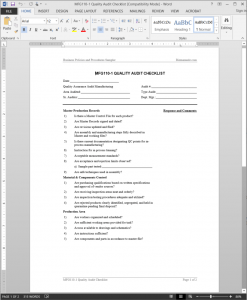 Manufacturing Quality Audit Checklist Template