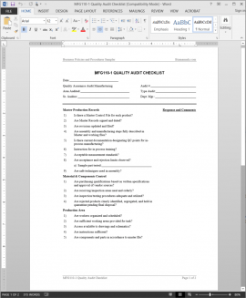 MFG110-1 Manufacturing Quality Audit Checklist Template