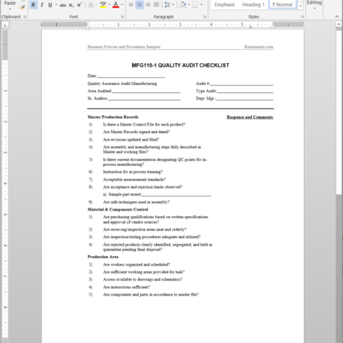 Manufacturing Procedure Template | Manufacturing Policies And Procedures