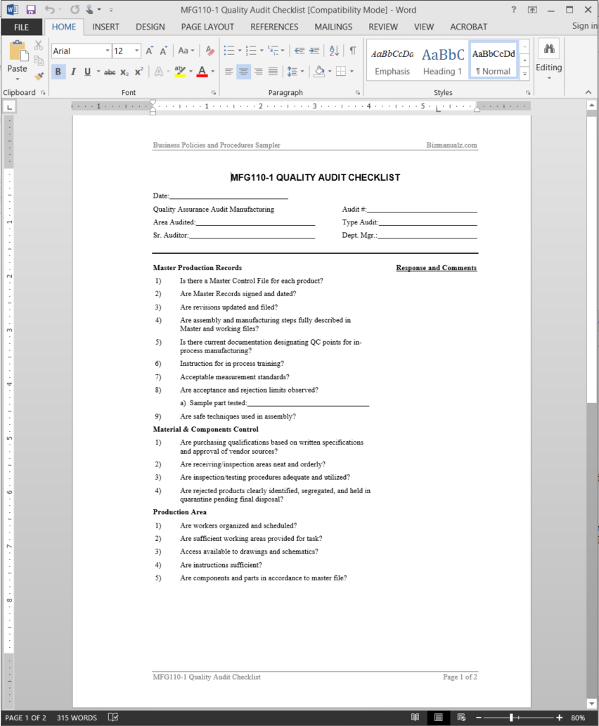 Manufacturing Quality Audit Checklist Template | MFG110-1
