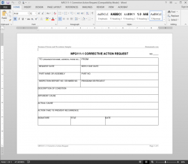MFG111-1 Manufacturing Corrective Action Request Template