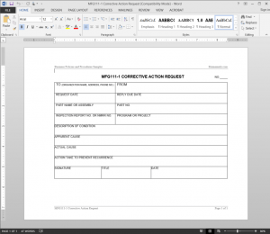 Manufacturing Corrective Action Request Template