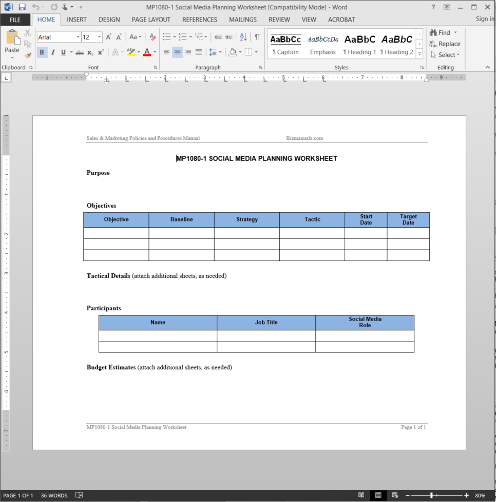 Social Media Planning Worksheet Template