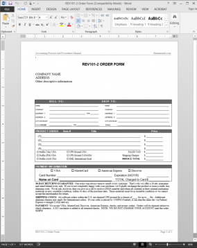 REV101-2 Order Form Template