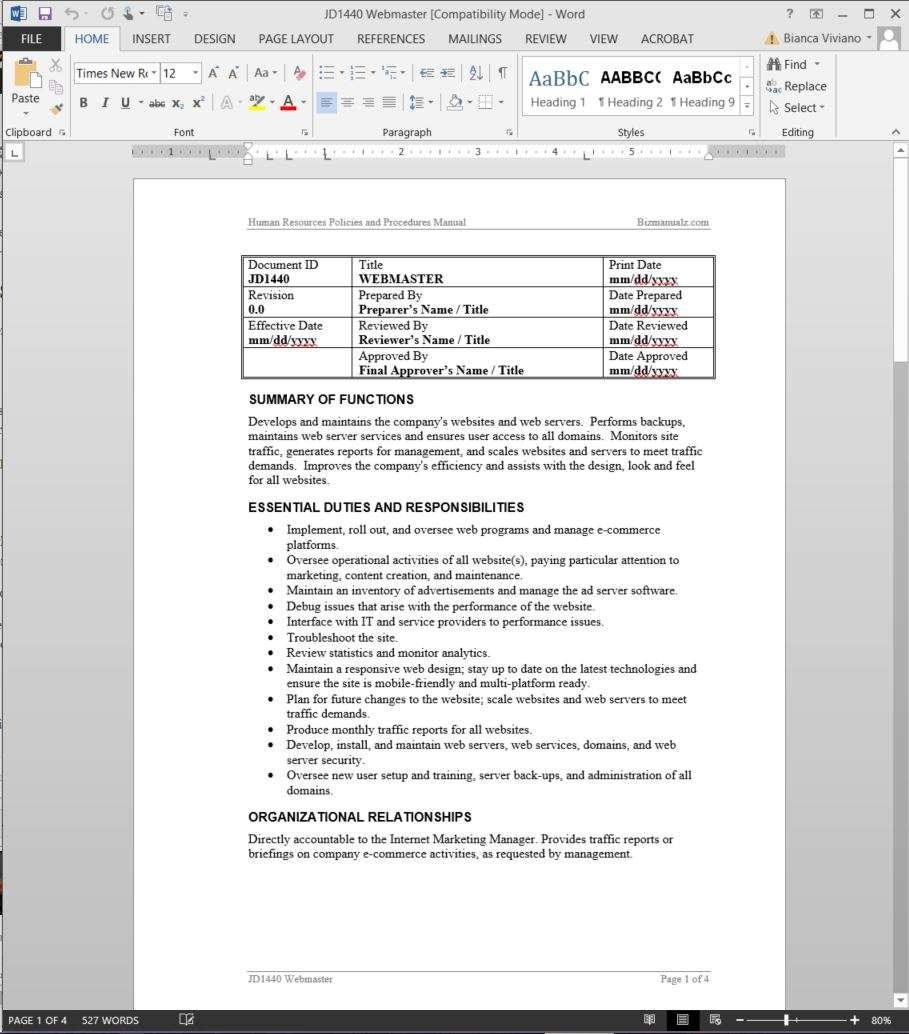 webmaster job description word template webmaster