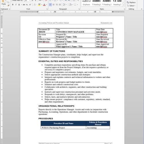Construction Manager Job Description