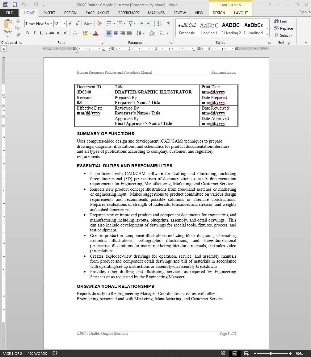 Drafter-Graphic Illustrator Job Description