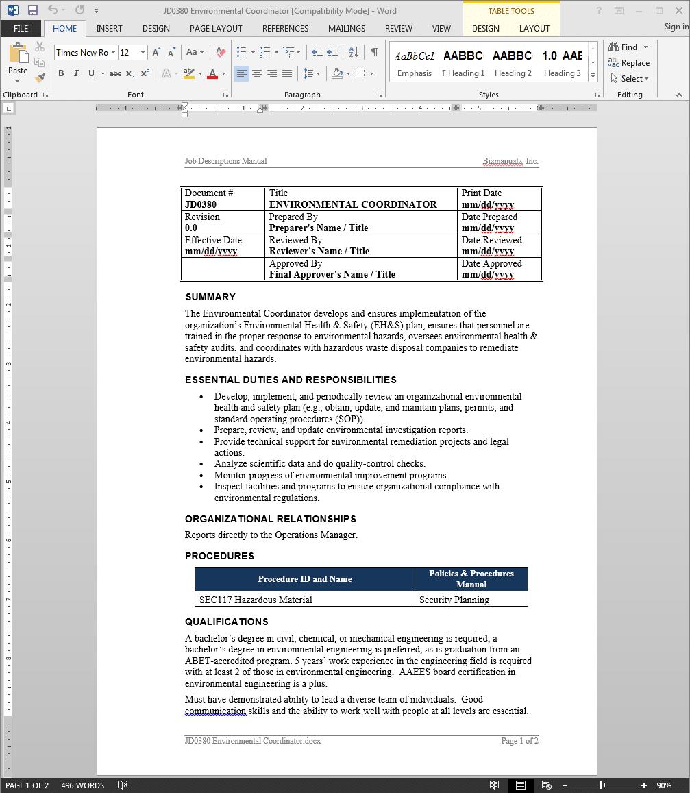 environmental coordinator job description