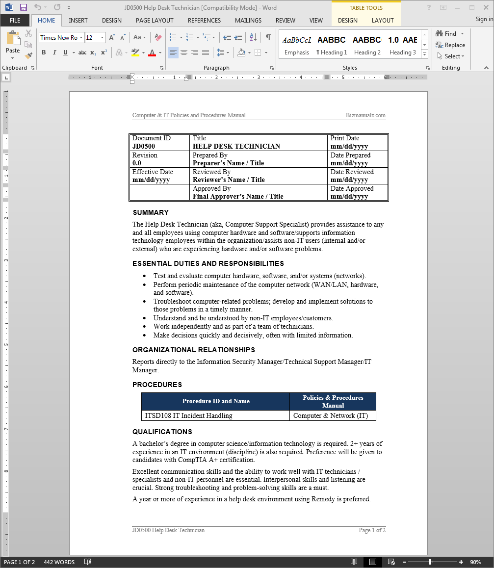 Help desk job description diyda org diyda org for Help desk manual template
