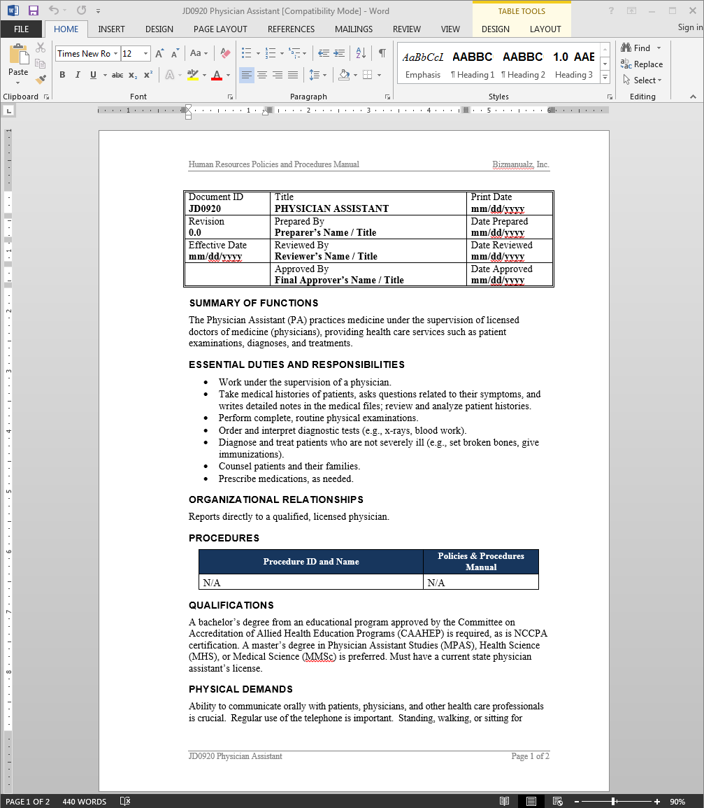 Physician Assistant Job Description – Physician Job Description