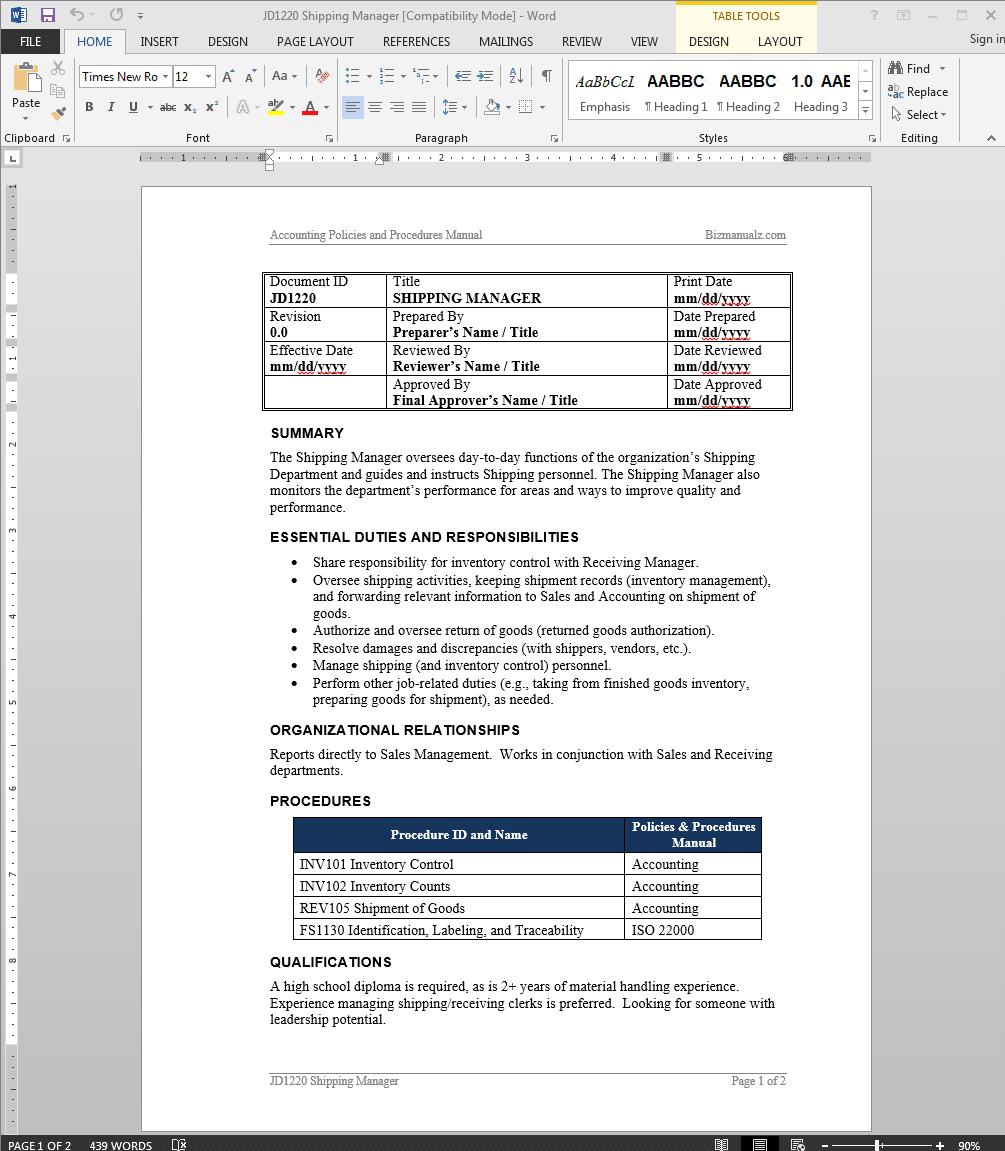 Shipping Manager Job Description – Shipping Receiving Job Description