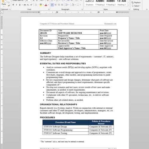 Document Manager Job Description