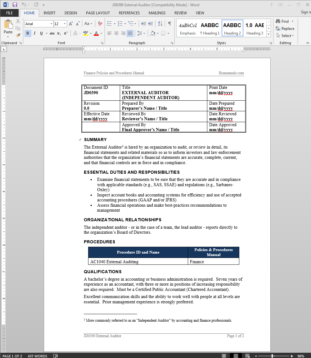 external auditor job description - Job Description Of Business Administration