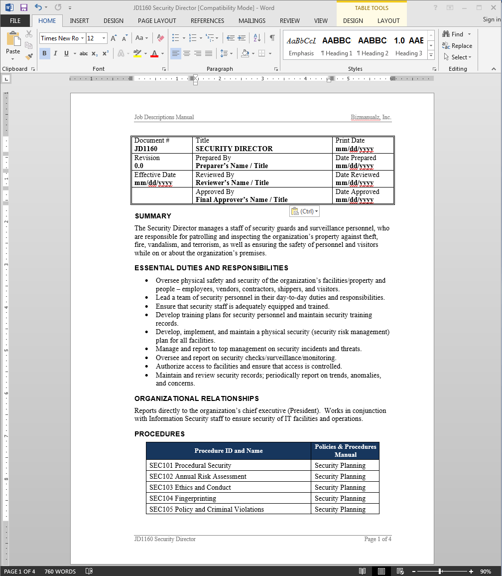 Security Director Job Description
