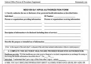 Medical Practice HIPAA Authorization Form