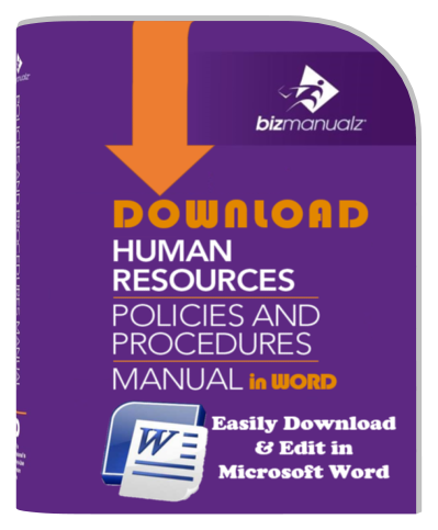 Sop policies and procedures manual templates bizmanualz for Human resource manual template