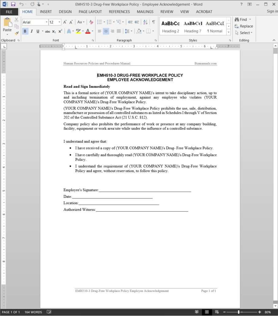 DrugFree Workplace Acknowledgement Template – Sample Safety Manual Template