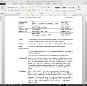 policy and procedure template microsoft word - policies and procedures manual template bizmanualz