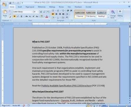 Microsoft Word window