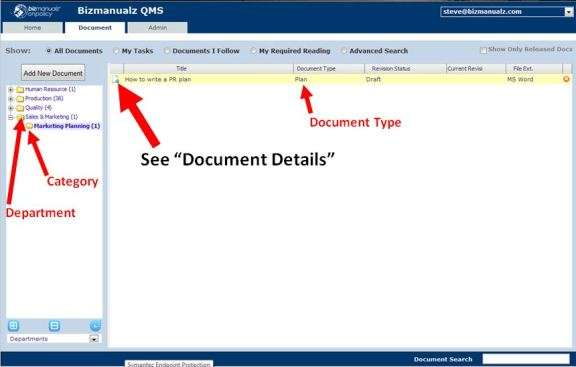 selecting document details onpolicy