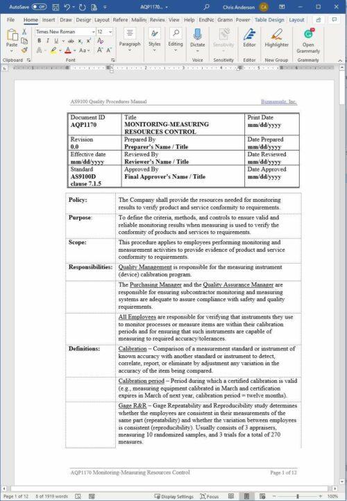 Aerospace Monitoring Measuring Resources Control Procedure