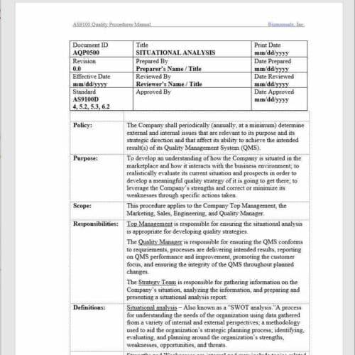 Aerospace Situational Analysis Procedure